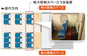特大荷物スペースつき座席